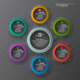 Abstract 3D Paper dark infographic. Vector abstract 3d paper dark infographic elements.Circular infographics Stock Illustration
