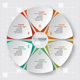 Abstract 3D Paper Infographics. Vector abstract 3d paper infographic elements.Circular infographics royalty free illustration