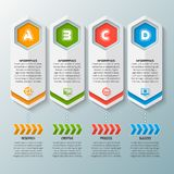 Abstract 3D Paper Infographics. Vector abstract 3d paper infographic elements.Four options.Business infographics royalty free illustration