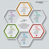 Abstract 3D Paper Infographics. Vector abstract 3d paper infographic elements.Hexagon infographics.Honeycomb design Stock Photos