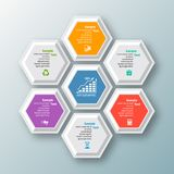 Abstract 3D Paper Infographics. Vector abstract 3d paper infographic elements.Hexagon infographics.Honeycomb design Royalty Free Stock Image