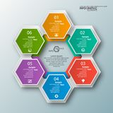 Abstract 3D Paper Infographics. Vector abstract 3d paper infographic elements.Hexagon infographics.Honeycomb design Royalty Free Stock Photos