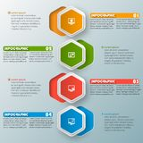 Abstract 3D Paper Infographics. Vector abstract 3d paper infographic elements.Hexagon infographics.Honeycomb design Stock Image