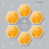 Abstract 3D Paper Infographics. Vector abstract 3d paper infographic elements.Hexagon infographics.Honeycomb design Stock Images