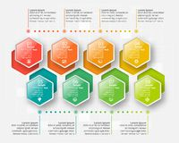 Abstract 3D Paper Infographics. Business template .Vector illustration. Vector abstract 3d paper infographic elements.Hexagon infographics.Honeycomb design royalty free illustration