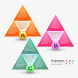 Vector abstract 3d triangle infographics. Can be used for workflow layout, diagram, number options, web design stock illustration