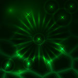 Vector abstract dark background with glowing rays and stars. Vector abstract dark background with green glowing rays and stars Stock Images