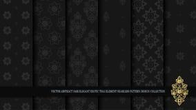 Vector abstract dark elegant exotic Thai seamless pattern design Royalty Free Stock Image