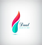 Vector abstract dual, 2 parts vibrant logo. Two colors Stock Photo