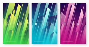 Vector abstract dynamic geometric backgrounds, colorful minimal. Cover designs, futuristic posters with stylized urban cityscape. Global swatches stock illustration