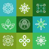 Vector abstract ecology symbols - outline emblems Stock Image