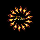 Vector abstract element of fire. On a black background with an inscription Royalty Free Stock Photography