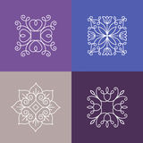 Vector abstract emblems - outline monograms Stock Images