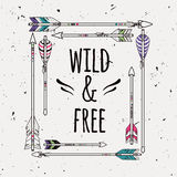 Vector abstract ethnic frame with arrows and typographic text Royalty Free Stock Images