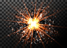 Vector abstract explosion background. Bright blast in dark. Glowing bright light. Digital graphic for brochure, website Stock Photography