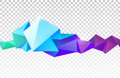 Vector abstract faceted crystal banner, 3d shape with triangles, geometric, modern template. On transparent background Stock Image