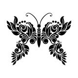 Vector Black and White floral Butterfly Royalty Free Stock Image