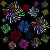 Vector abstract fireworks texture. On black background Royalty Free Stock Images