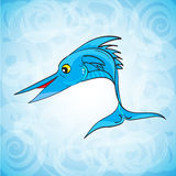 Vector abstract fish logo on blue ocean pattern. EPS 10 vector Stock Image