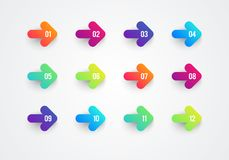 Vector Abstract Flat Colorful Gradient Arrow Bullet Point Numbers 1 to 12. Vector Abstract Flat Cool Colorful Gradient Arrow Bullet Point Numbers 1 to 12 royalty free illustration