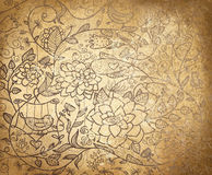 Vector Abstract Floral Pattern On Old Paper Backgr Royalty Free Stock Images