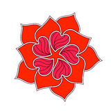 Vector Abstract Flower From Red Heart Over White. Royalty Free Stock Photo