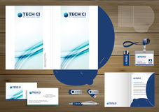 Vector abstract Folder Stationery presentation corporate identity template design, business Color promotional souvenirs elements. Link digital technology set Stock Photography