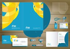 Vector abstract Folder Stationery presentation corporate identity template design, business Color promotional souvenirs elements. Link digital technology set Royalty Free Stock Images