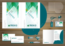 Vector abstract Folder Stationery presentation corporate identity template design, business Color promotional souvenirs elements. Link digital technology set Stock Image