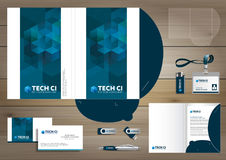 Vector abstract Folder Stationery presentation corporate identity template design, business Color promotional souvenirs elements. Stock Photos