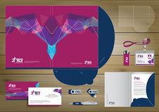 Vector abstract Folder Stationery presentation corporate identity template design, business Color promotional souvenirs elements. Stock Image