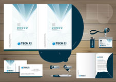 Vector abstract Folder Stationery presentation corporate identity template design, business Color promotional souvenirs elements. Link digital technology set stock illustration