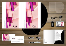 Vector abstract Folder Stationery presentation corporate identity template design, business Color promotional souvenirs elements. Link digital technology set Stock Photos