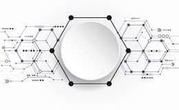 Vector Abstract futuristic circuit board on light gray background. Hi-tech digital technology concept. Blank white 3d paper circle label with space for your Stock Image