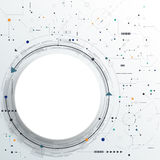 Vector Abstract futuristic circuit board on light gray background. Hi-tech digital technology concept. Blank white 3d paper circle label with space for your Royalty Free Stock Photos
