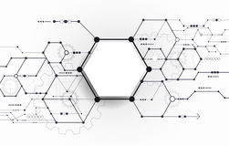Vector Abstract futuristic circuit board on light gray background. Hi-tech digital technology concept. Blank white 3d paper polygon label with space for your Royalty Free Stock Photo