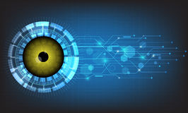 Vector abstract futuristic eyeball on circuit board background. Royalty Free Stock Image