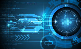 Vector Abstract futuristic eyeball on circuit board. Communication technology Stock Photos