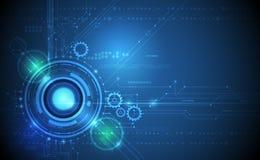 Vector Abstract futuristic eyeball on circuit board. Vector Abstract futuristic eyeball and gear wheel on circuit board., Illustration high computer technology stock illustration