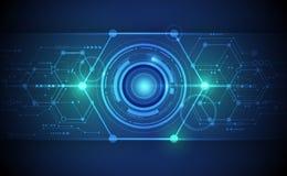 Vector Abstract futuristic eyeball on circuit board Royalty Free Stock Image