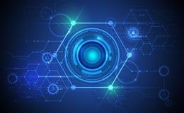 Vector Abstract futuristic eyeball on circuit board Stock Photo