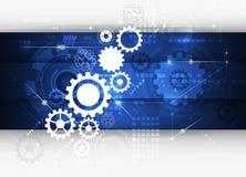 Vector Abstract futuristic gear on circuit board Stock Photo