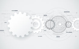 Vector abstract futuristic - gear wheel on circuit board Royalty Free Stock Photo