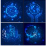 Vector Abstract futuristic posters, Illustration high computer technology dark blue color background. Stock Image