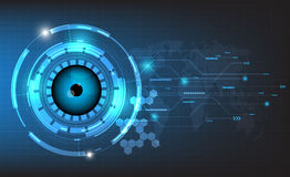 Vector abstract futuristic world and eyeball on circuit board background. Stock Photography