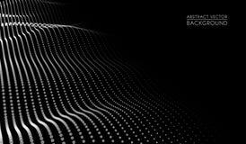 Vector abstract futuristisch digitaal landschap met deeltjespunten en sterren op horizon Kunstmatige intelligentie neon Royalty-vrije Illustratie