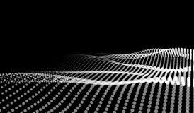 Vector abstract futuristisch digitaal landschap met deeltjespunten en sterren op horizon Kunstmatige intelligentie neon Vector Illustratie