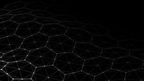 Vector abstract futuristisch digitaal landschap met deeltjespunten en sterren op horizon Kunstmatige intelligentie neon Stock Illustratie