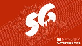 Vector abstract 5G new wireless internet connection background. Global network high speed network. Sliced 3d 5G symbol. On a red background with wave pattern royalty free illustration