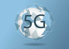 Vector abstract 5G new wireless internet connection background. Global network high speed network. 5G symbol. Concept in blue royalty free illustration